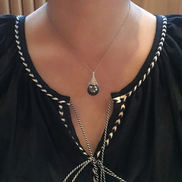 Sterling Silver Black Pearl Drop Necklace - SDG by Grace