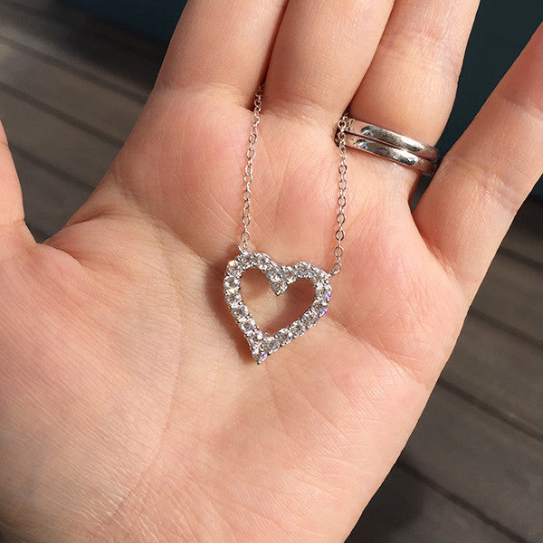 Sterling Silver Brilliant Heart Necklace - SDG by Grace
