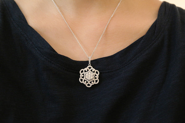 Sterling Silver Filigree Flower Necklace - SDG by Grace