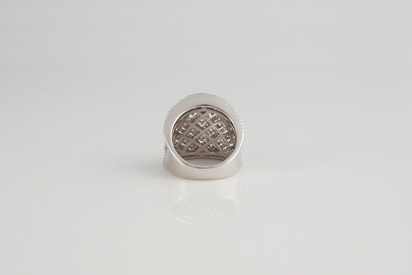 Sterling Silver Wide Byzantine Cocktail Ring, White - SDG by Grace