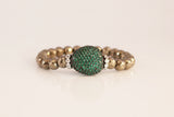 Green Cubic Ball and Pyrite Beaded Bracelet - SDG by Grace
