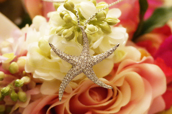 Sterling Silver Starfish Necklace, White - SDG by Grace