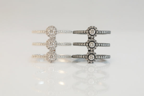 Sterling Silver Triple Halo Band Ring (2 Colors)