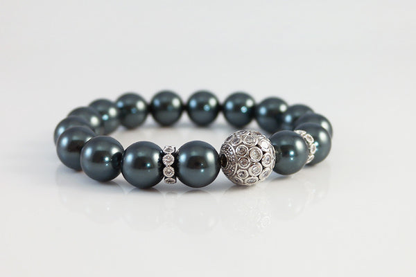 Pearl Beaded Bracelet with Crystal Ball - SDG by Grace