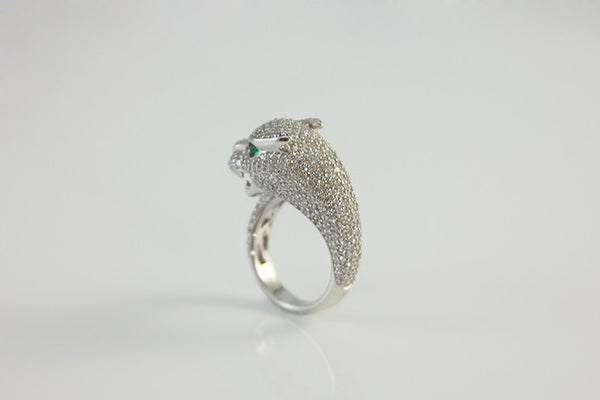 Sterling Silver Panther Ring, White - SDG by Grace