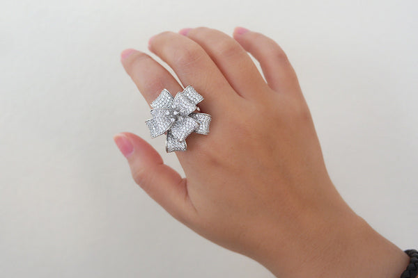 Sterling Silver Flower Bow Ring - SDG by Grace