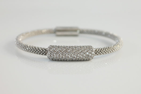 Crystal Station Italian Silver Bracelet, White - SDG by Grace