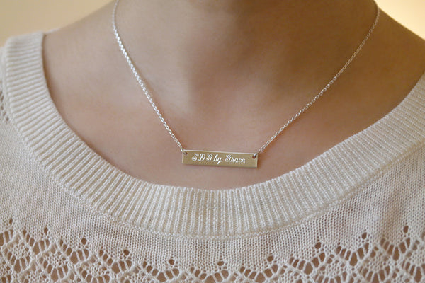 Sterling Silver Engraved Bar Necklace - SDG by Grace