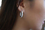 Sterling Silver Hoop Earrings, White - SDG by Grace