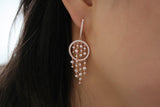 Sterling Silver Chandelier Earrings, Rose - SDG by Grace