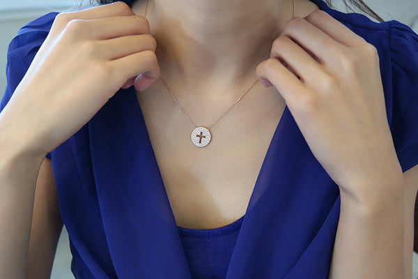 Sterling Silver Cross Coin Necklace, Rose - SDG by Grace