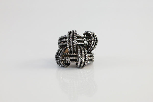 Sterling Silver Woven Cocktail Ring, Black - SDG by Grace