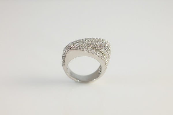 Sterling Silver Three Row Cocktail Ring, White - SDG by Grace