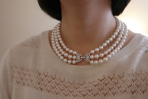 Bow Clasp Three Strand Pearl Necklace (2 Colors) - SDG by Grace