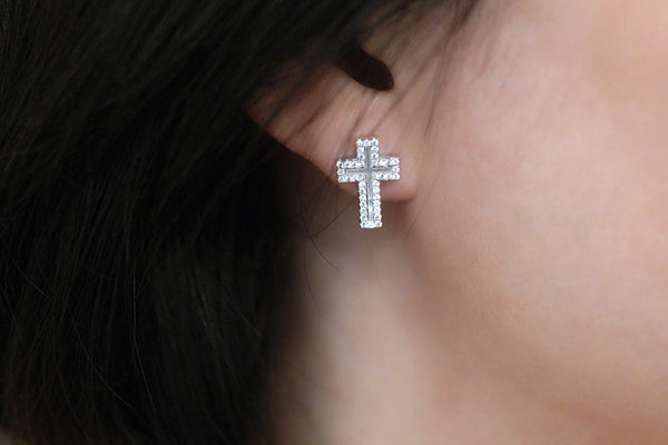 Sterling Silver Mother of Pearl Cross Earrings, White - SDG by Grace