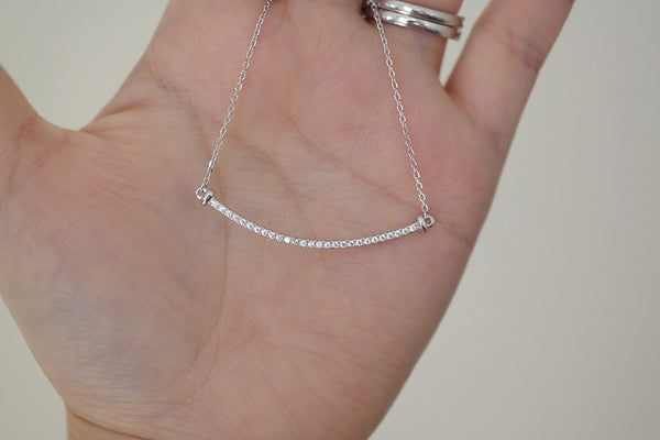 Sterling Silver Smile Bar Necklace (3 Colors) - SDG by Grace