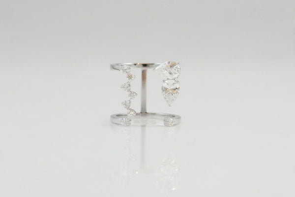 Sterling Silver Crystal Open Ring - SDG by Grace