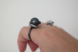 Sterling Silver Crystal Swirl Black Pearl Ring - SDG by Grace