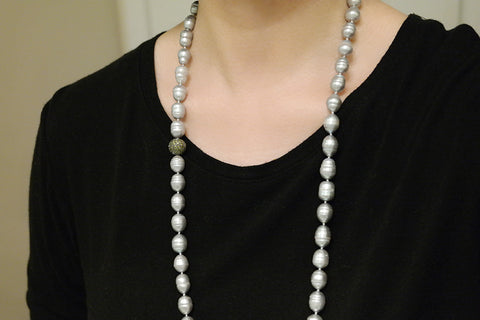 Grey Baroque Pearl Opera Necklace - SDG by Grace