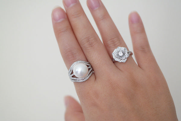 Sterling Silver Five Line Pearl Ring - SDG by Grace
