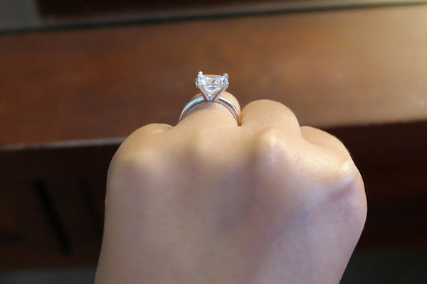 Sterling Silver Princess Cut Ring, 3 Carat - SDG by Grace