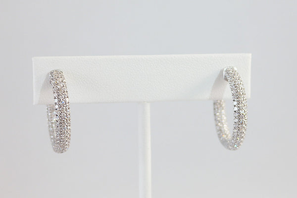 Sterling Silver Crystal Hoop Earrings, White - SDG by Grace