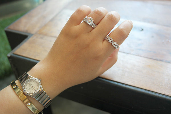 Sterling Silver Baguette Crystal Wreath Ring - SDG by Grace