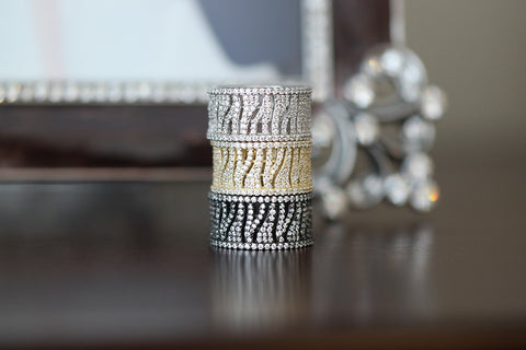 Sterling Silver Zebra Pattern Pave Ring (4 Colors) - SDG by Grace