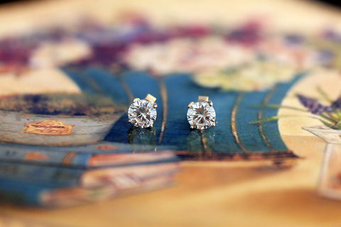Sterling Silver CZ Stud Earrings, 7mm - SDG by Grace