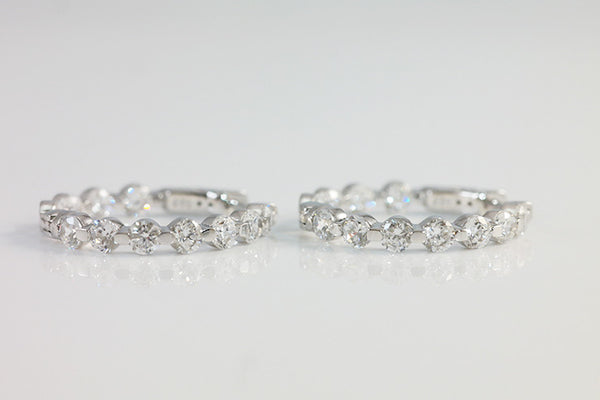 Sterling Silver Slim Crystal Hoop Earrings - SDG by Grace
