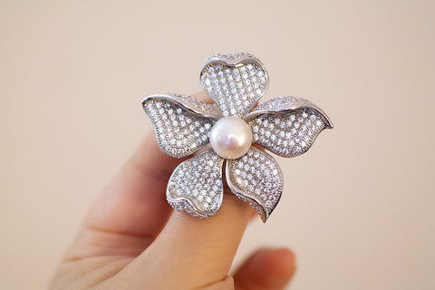 Brass Freshwater Pearl Flower Brooch - SDG by Grace