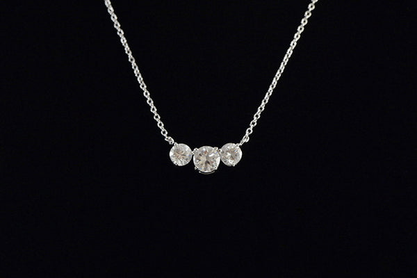 Sterling Silver Three Stone Necklace - SDG by Grace