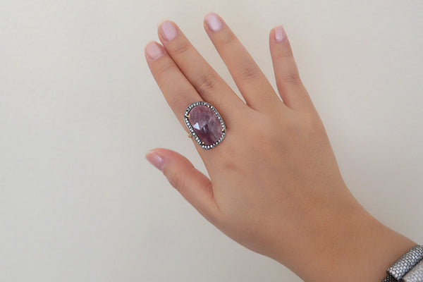 Sterling Silver Pink Sapphire Single Stone Ring - SDG by Grace