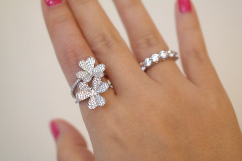 Sterling Silver Twin Clover Ring - SDG by Grace