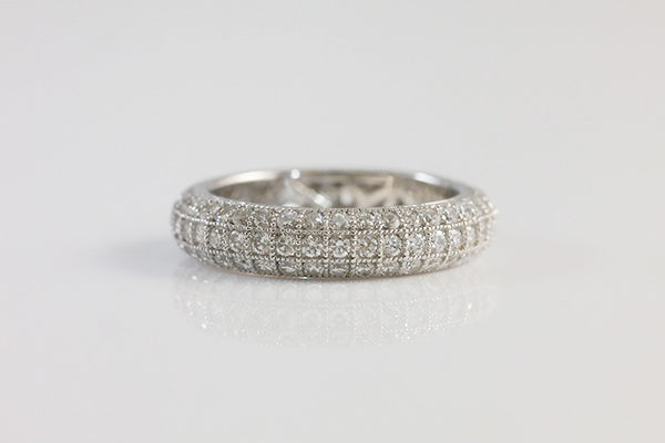 Sterling Silver Three Row Eternity Ring, White - SDG by Grace