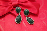 Genuine Emerald and White Topaz Drop Earrings - SDG by Grace