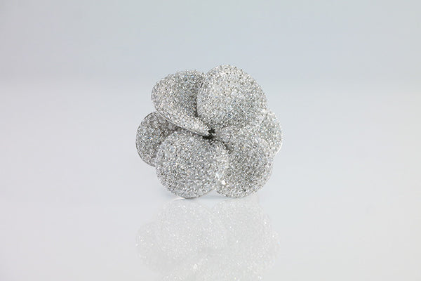 Sterling Silver Flower Cocktail Ring, White - SDG by Grace