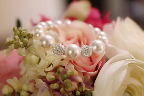 Swarovski Crystal Pave Ball and Pearl Bracelet - SDG by Grace