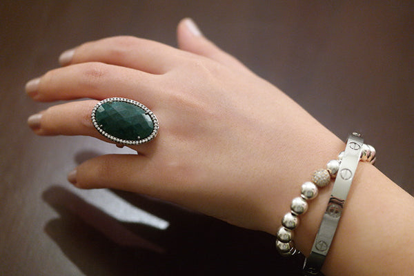 Genuine Emerald and White Topaz Ring - SDG by Grace