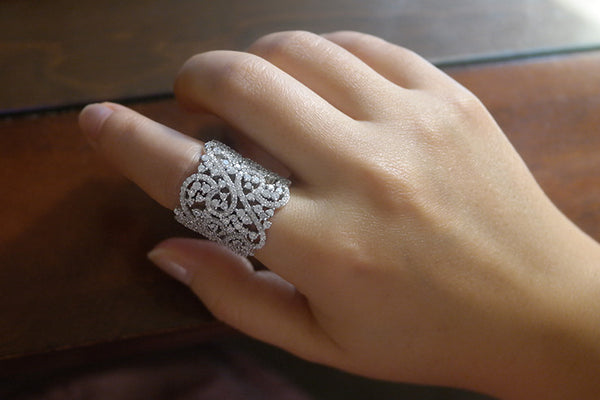 Sterling Silver Lace Ring, White - SDG by Grace