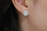 Sterling Silver Large Flower Stud Earrings, White - SDG by Grace