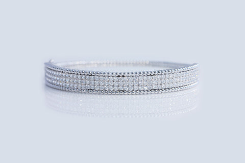 Sterling Silver Bubble Pave Bangle - SDG by Grace