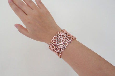 Brass Wide Lace Pave Bangle, Rose - SDG by Grace