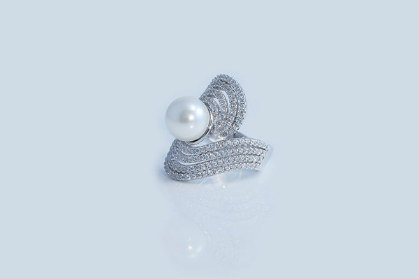 Sterling Silver Wavy Pave Pearl Ring - SDG by Grace