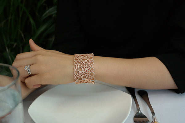 Sterling Silver Wide Lace Pave Bangle (2 Colors) - SDG by Grace