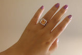 Sterling Silver Citrine Orange Square Ring Set - SDG by Grace
