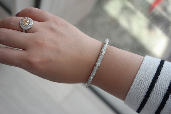 Sterling Silver Pave Bamboo Bangle, White - SDG by Grace