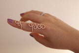 Sterling Silver Design Pattern Chain Ring, Rose - SDG by Grace