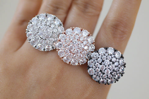 Sterling Silver Crystal Cluster Round Ring (3 Colors)