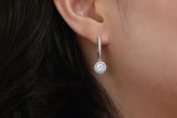 Sterling Silver Halo Setting Drop Earrings (2 Colors) - SDG by Grace